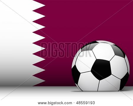 Qatar Soccer Ball With Flag Background