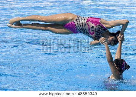 Jul 25 2009; Rome Italy; Team Mexico competing in the final round of the women's team synchronised swimming at the 13th Fina World Aquatics Championships