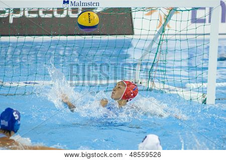 Jul 23 2009; Rome Italy; Maria Tsouri (GRE) watches the ball hit the back of the goal during the waterpolo competition between USA and Greece at the 13th Fina World Aquatics Championships