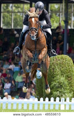 24/06/2011 HICKSTEAD ENGLAND, ANTIK 9 ridden by Matthias  Granzow (GER) competing in the Bunn Leisure Derby trial at the British Jump Derby Equestrian meeting held at Hickstead West Sussex England