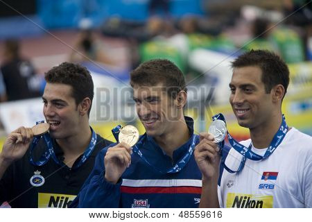 Jul 01 2009; Rome Italy; Raphael Munoz (ESP) Michael Phelps (USA) Milorad Cavic (SRB)  at the 13th Fina World Aquatics Championships held in the The Foro Italico Swimming Complex.