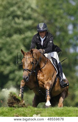 25/06/2011 HICKSTEAD ENGLAND, MAGIC FOX ridden by Shane  Breen (IRL) winner of the Bunn Leisure Speed Derby at the Hickstead Equestrian meeting held at Hickstead West Sussex England