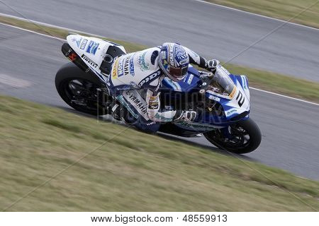 26 Sept 2009; Silverstone England: Rider number 2 Leon Camier (GBR) riding for Airwaves Yamaha  during the free practice session of the British Superbike Championship: