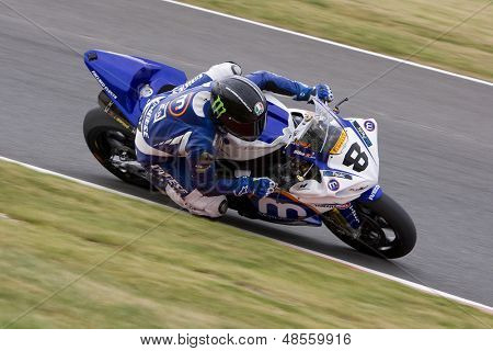 26 Sept 2009; Silverstone England: Rider number 8 Graeme Gowland GBR riding for Motorpoint / Henderson Yamaha  during the free practice session of the British Superbike Championship: