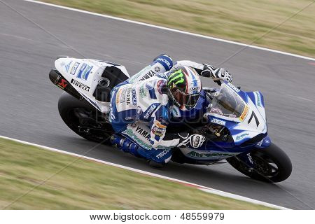 26 Sept 2009; Silverstone England: Rider number 7 James Ellison (GBR) riding for Airwaves Yamaha  during the free practice session of the British Superbike Championship: