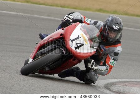 26 Sept 2009; Silverstone England: Rider number 14 Michael Howarth GBR riding for STP - JHS Racing  during the free practice session of the British Superbike Championship: