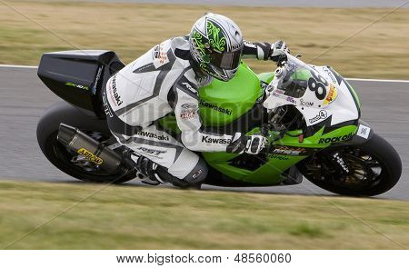 26 Sept 2009; Silverstone England: Rider number 86 Julien Da Costa FRA riding for MSS Colchester Kawasaki during the free practice session of the British Superbike Championship: