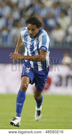 MALAGA, SPAIN. 19/09/2010. Weligton the Malaga defender in action during the La Liga match between CF Malaga and Sevilla, played in the La Rosaleda Stadium