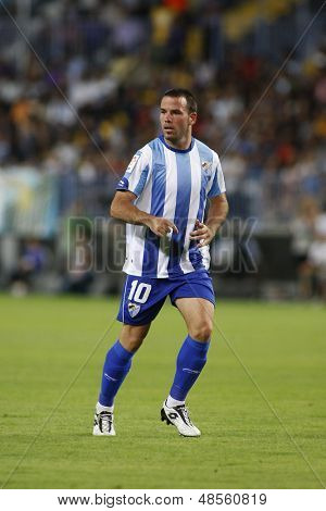 MALAGA, SPAIN. 19/09/2010. Apoeo the Malaga midfielder in action during the La Liga match between CF Malaga and Sevilla, played in the La Rosaleda Stadium