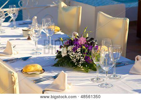 Elegant Wedding Table With Sea Views