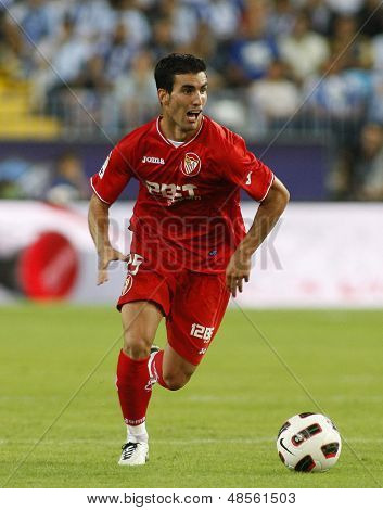 MALAGA, SPAIN. 19/09/2010. Alejandro Alfaro a Sevilla midfield player in action during the La Liga match between CF Malaga and Sevilla, played in the La Rosaleda Stadium