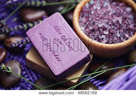 bar of lavender soap with bath salt - beauty treatment /shallow DOF/