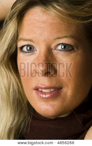 Head Shot Attractive Pretty Middle Age Woman Blond Female