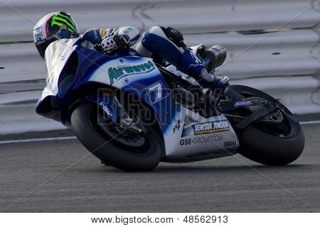27 Sept 2009; Silverstone England: Rider number 7 James Ellison (GBR) riding for Airwaves Yamaha  during race 1 of round 11,  at the MCE Insurance British Superbike Championship: