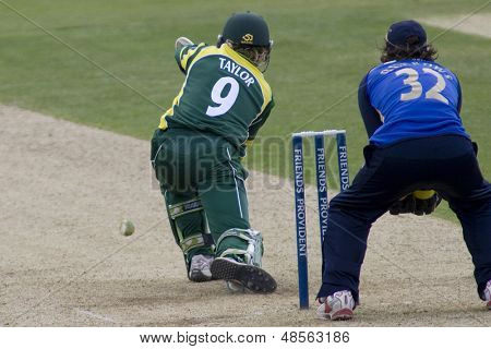 May 03 2009; Southampton Hampshire,J Taylor   plays a shot watched by wicketkeeper T Burrows   competing in Friends Provident trophy 1 day cricket match played at the Rose Bowl.