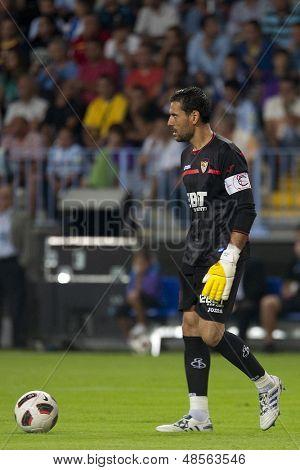 MALAGA, SPAIN. 19/09/2010. Sevilla's goalkeeper Andr���©s Palop (captain) in action during the La Liga match between CF Malaga and Sevilla, played in the La Rosaleda Stadium