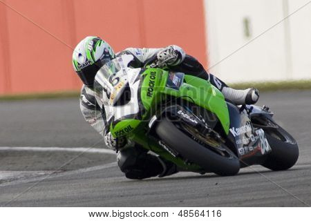 26 Sept 2009; Silverstone England: Rider number 86 Julien Da Costa FRA rides for MSS Colchester Kawasaki during the pole position qualifying session of the MCE Insurance British Superbike Championship
