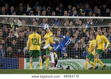 LONDON ENGLAND 23-11-2010. Chelsea's forward Didier Drogba  attempts an over head kick during the UEFA Champions League group stage match between Chelsea FC and MSK Zilina
