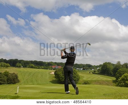SAINT-OMER, FRANCE. 16-06-2010, A golfer in action on the preview day of the European Tour, 14th Open de Saint-Omer, part of the Race to Dubai tournament and played at the AA Saint-Omer Golf Club