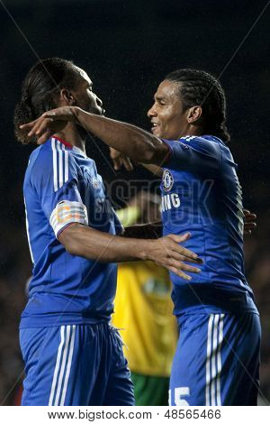LONDON ENGLAND 23-11-2010. Chelsea's forward Didier Drogba  and Chelsea's midfielder Florent Malouda celebrate Malouda's goal during the UEFA Champions League match between Chelsea FC and MSK Zilina