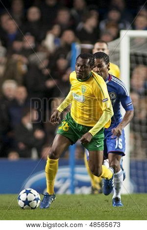LONDON ENGLAND 23-11-2010. MSK Zilina's forward Bello  in action during the UEFA Champions League group stage match between Chelsea FC and MSK Zilina