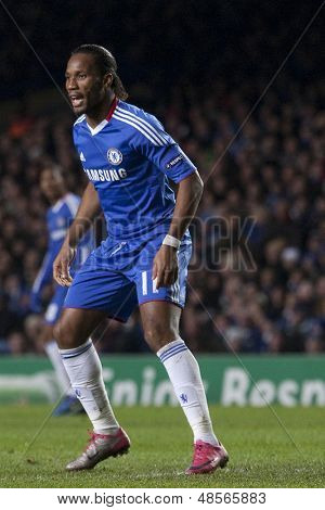 LONDON ENGLAND 23-11-2010. Chelsea's forward Didier Drogba  in action during the UEFA Champions League group stage match between Chelsea FC and MSK Zilina