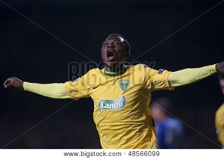 LONDON ENGLAND 23-11-2010. MSK Zilina's forward Bello celebrates scoring during the UEFA Champions League group stage match between Chelsea FC and MSK Zilina