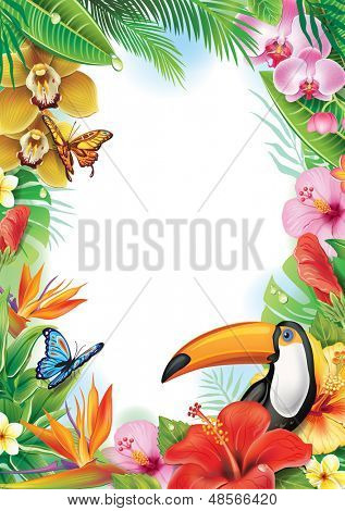 Frame with tropical flowers, butterflies and toucan