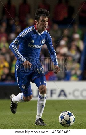 LONDON ENGLAND 23-11-2010. Chelsea's defender Paulo Ferreira in action during the UEFA Champions League group stage match between Chelsea FC and MSK Zilina