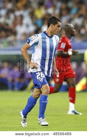 MALAGA, SPAIN. 19/09/2010. Juanmi the Malaga forward in action during the La Liga match between CF Malaga and Sevilla, played in the La Rosaleda Stadium