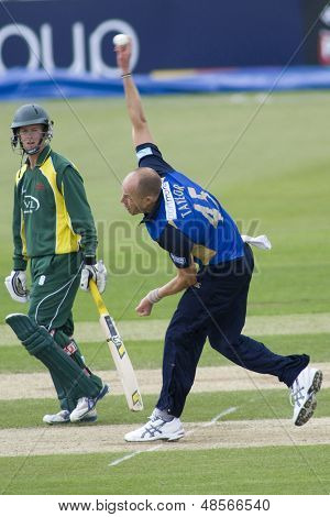 May 03 2009; Southampton Hampshire, B Taylor  watched M Boyce   by  competing in Friends Provident trophy 1 day cricket match between Hampshire and Leicestershire played at the Rose Bowl.