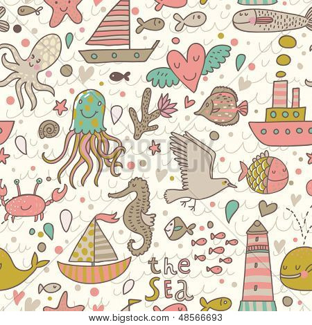 Funny summer seamless pattern with ships, jellyfish, seahorse, lighthouse, seagull, octopus, crab, whale. The sea vector texture. Travel vacation background.