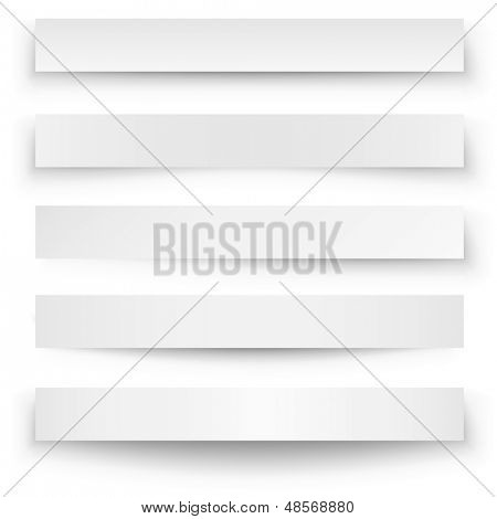 Kopfzeile leer Banner Schatten Webvorlage isolated on white Background.