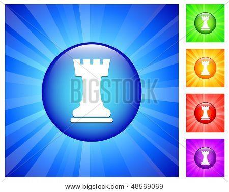 Ícone de torre no botão redondo com brilho azul