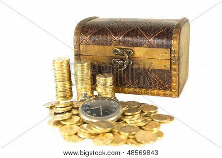 Chest Full Of Gold Coins Of The Old Clock