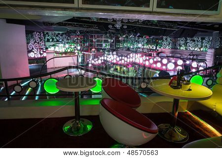 MOSCOW - JAN 18: Recreation area with chairs and table in the nightclub Pacha on January 18, 2013 in Moscow, Russia.