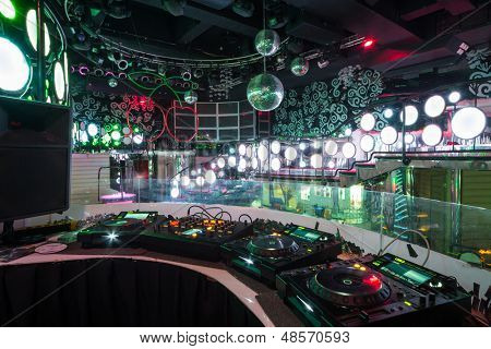 MOSCOW - JAN 18: The room in the nightclub Pacha with DJ equipment and dance floor on January 18, 2013 in Moscow, Russia.
