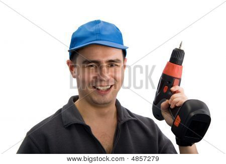 Smiling Workman With Screwdriver
