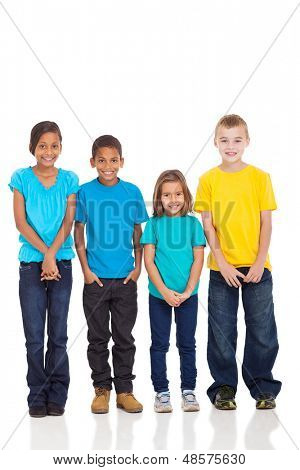 group of children in bright t-shirt isolate on white background