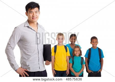 smiling male teacher and young school kids on white background