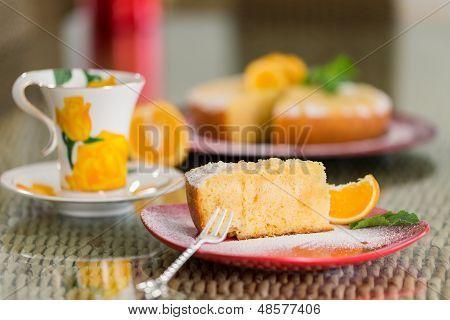 Slice Of Freshly Cooked Orange Cake