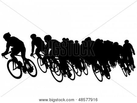 Vector drawing of a group of cyclists in competition. Property release is attached to the file
