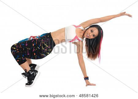 Full body cool looking girl dances jazz modern dance isolated on white background. Asian youth culture.