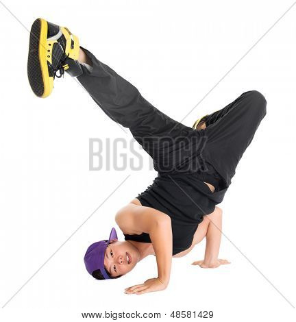 Full body cool looking Asian teen dance hip hop isolated on white background. Asian youth culture.