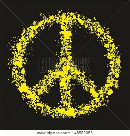 Grunge Peace Symbol - Pacific, Vector Illustration