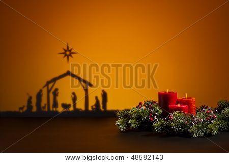 Geburt Jesus und Kerzen