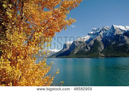Lake Minnewanka In Autumn,canadian Rockies,canada