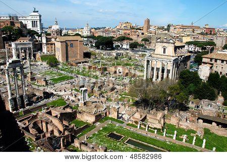 Panoramic View Of Foro Romano (roman Forum),rome,italy
