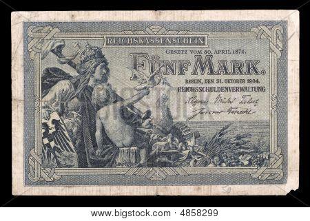 Bank Note Of Keiser Germany. 1904. Obverse.