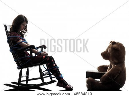one caucasian strange young woman and teddy bear storytelling in silhouette white background